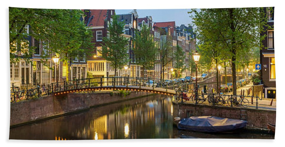Photography Bath Sheet featuring the photograph Houses Along Canal At Dusk by Panoramic Images