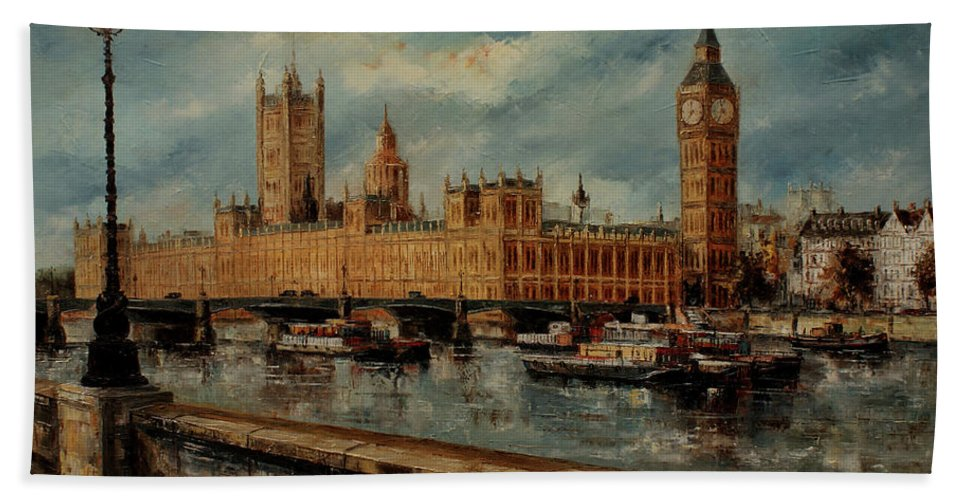 London Paintings Hand Towel featuring the painting Houses Of Parliament - London by Miroslav Stojkovic - Miro