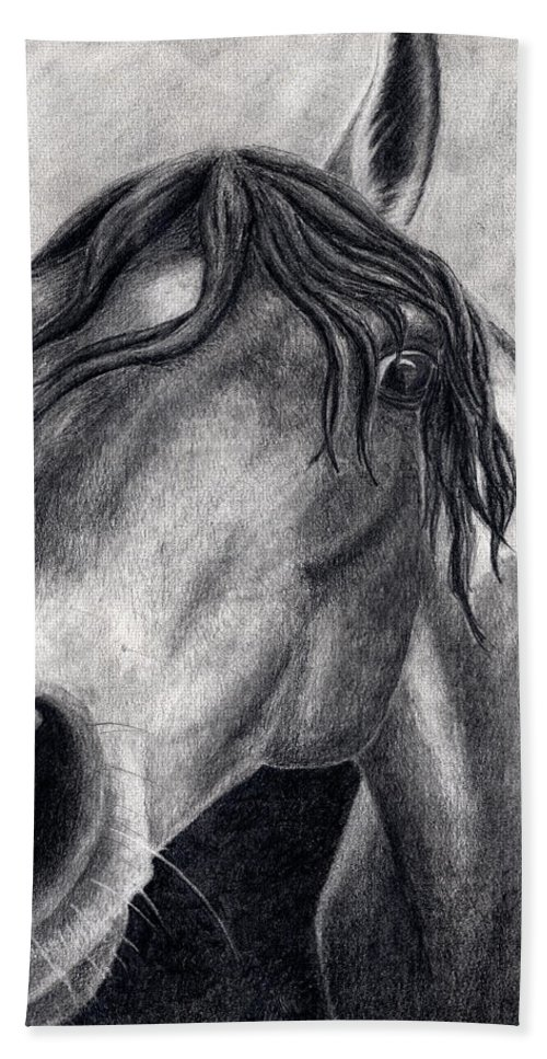 Horse Hand Towel featuring the drawing Houston by Anna Katherine