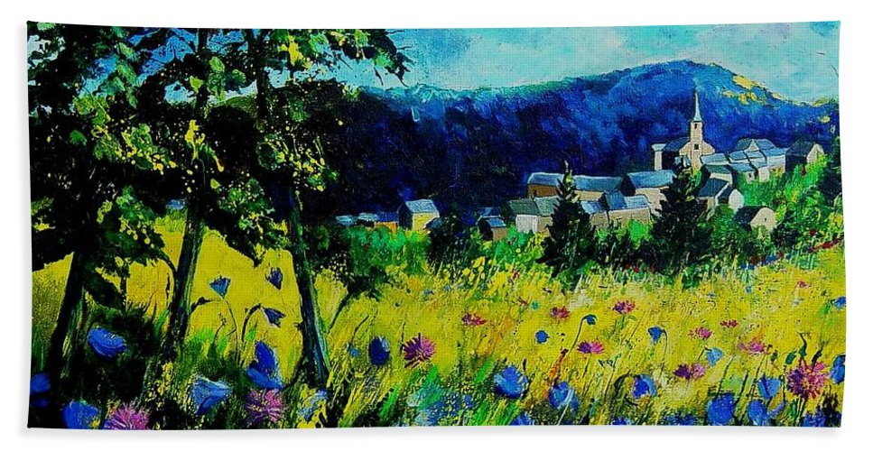 Flowers Bath Sheet featuring the painting Houyet 68 by Pol Ledent