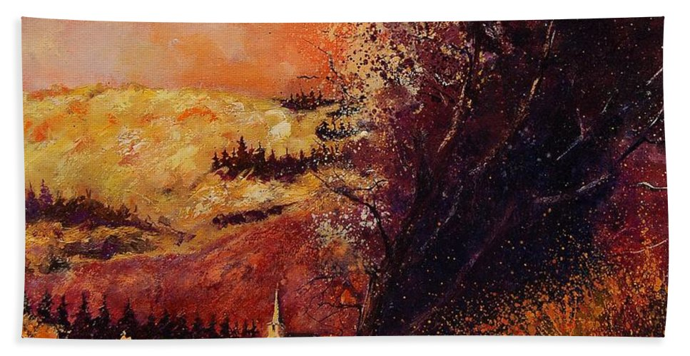 Tree Hand Towel featuring the painting Houyet In Fall by Pol Ledent