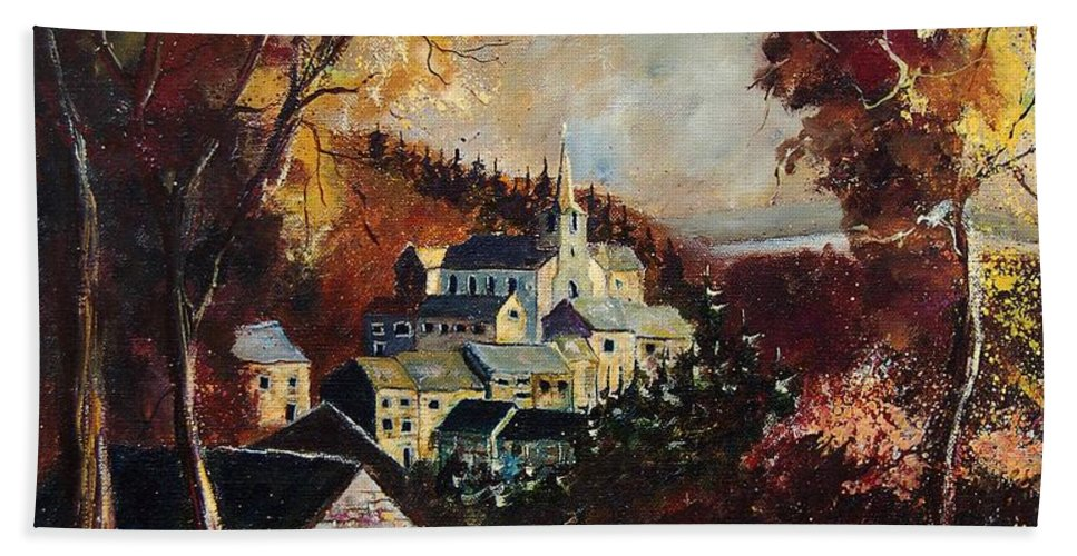 Tree Hand Towel featuring the painting Houyet Village Belgium by Pol Ledent