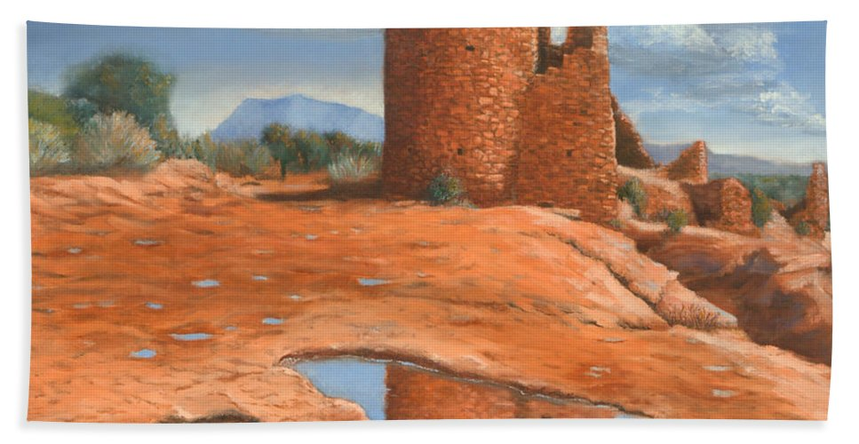 Anasazi Hand Towel featuring the painting Hovenweep Reflection by Jerry McElroy