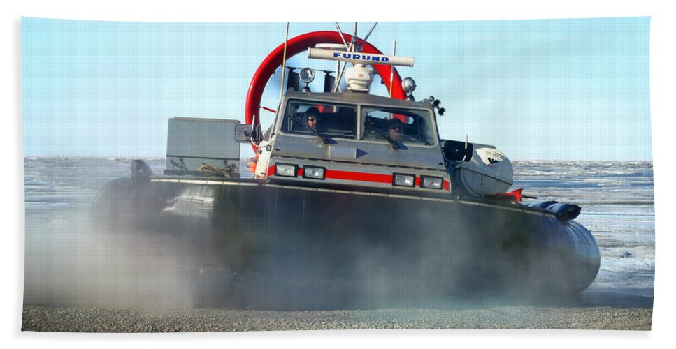 Hover Craft Bath Sheet featuring the photograph Hover Craft by Anthony Jones