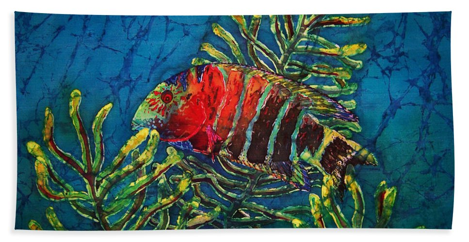 Fish Hand Towel featuring the painting Hovering - Red Banded Wrasse by Sue Duda