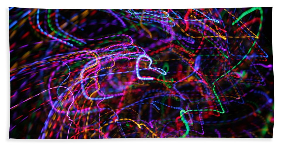 Light Painting Hand Towel featuring the photograph How Hearts Are Made by Ric Bascobert