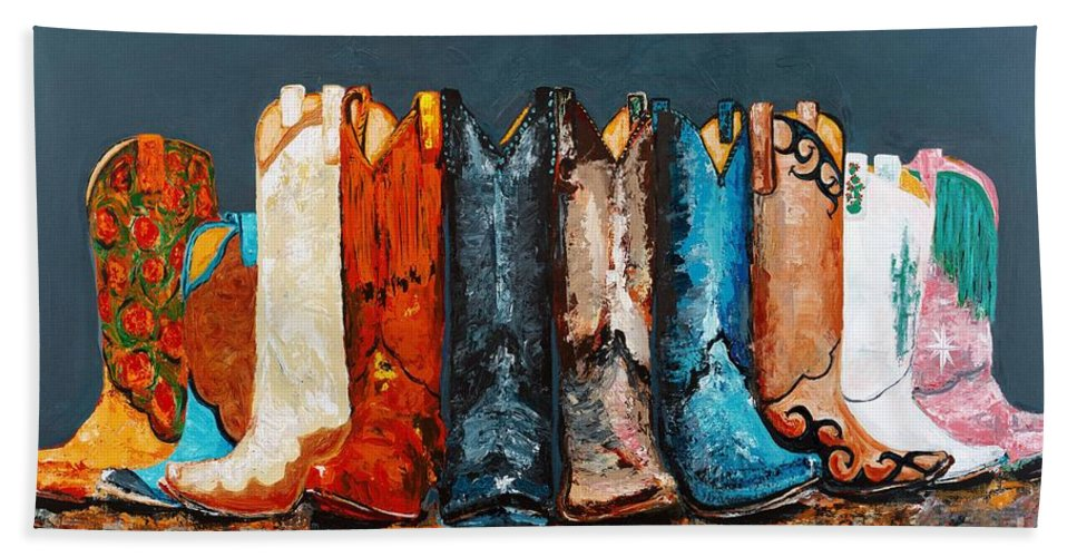 Cowboy Boots Bath Towel featuring the painting How The West Was Really Won by Frances Marino