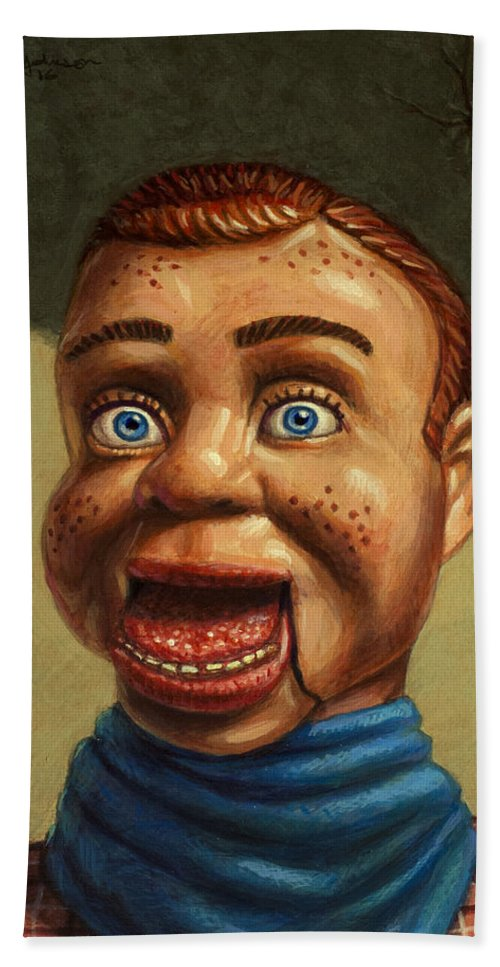 Howdy Doody Bath Sheet featuring the painting Howdy Doody Dodged A Bullet by James W Johnson