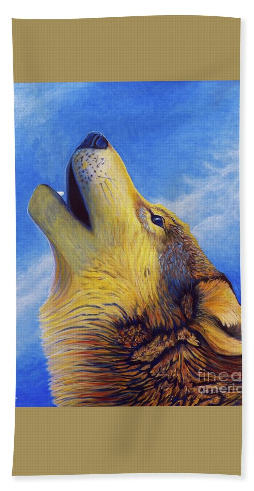 Wolf Hand Towel featuring the painting Howl by Brian Commerford