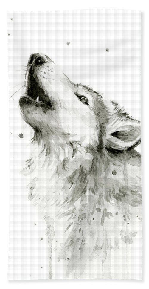 Watercolor Bath Towel featuring the painting Howling Wolf Watercolor by Olga Shvartsur