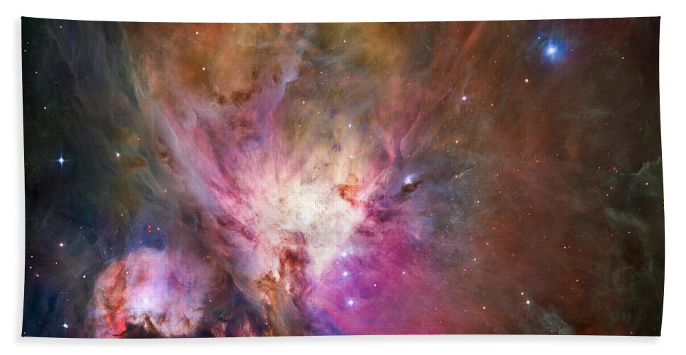 3scape Bath Sheet featuring the photograph Hubble's sharpest view of the Orion Nebula by Adam Romanowicz