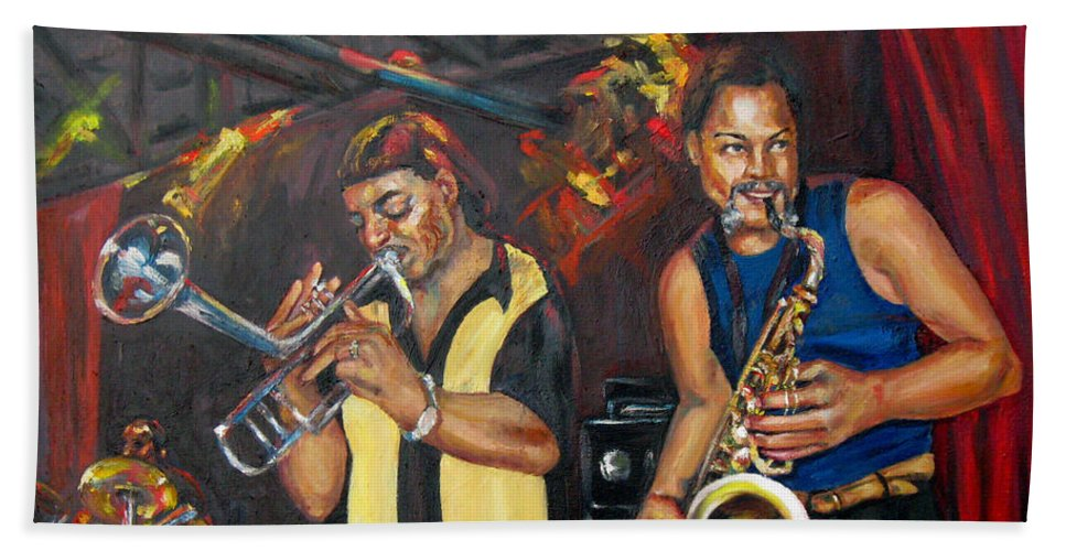 Musician Bath Sheet featuring the painting Hud N Lew/ The Daddyo Brothers by Beverly Boulet