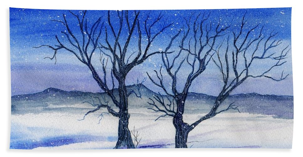 Watercolor Hand Towel featuring the painting Huddled On A Snowy Field. by Brenda Owen