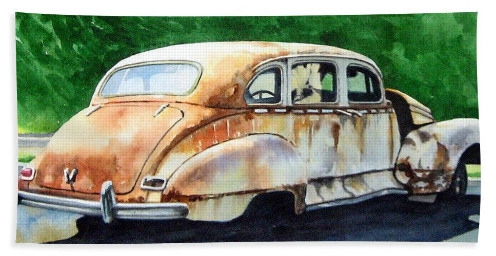 Hudson Car Rust Restore Bath Towel featuring the painting Hudson Waiting For a New Start by Ron Morrison