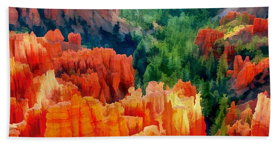 Nature Hand Towel featuring the painting Hues Of The Hoodoos In Bryce Canyon National Park by Elaine Plesser