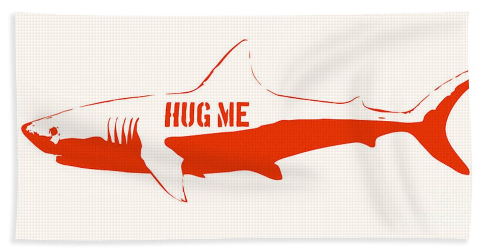 Shark Hand Towel featuring the painting Hug Me Shark by Pixel Chimp