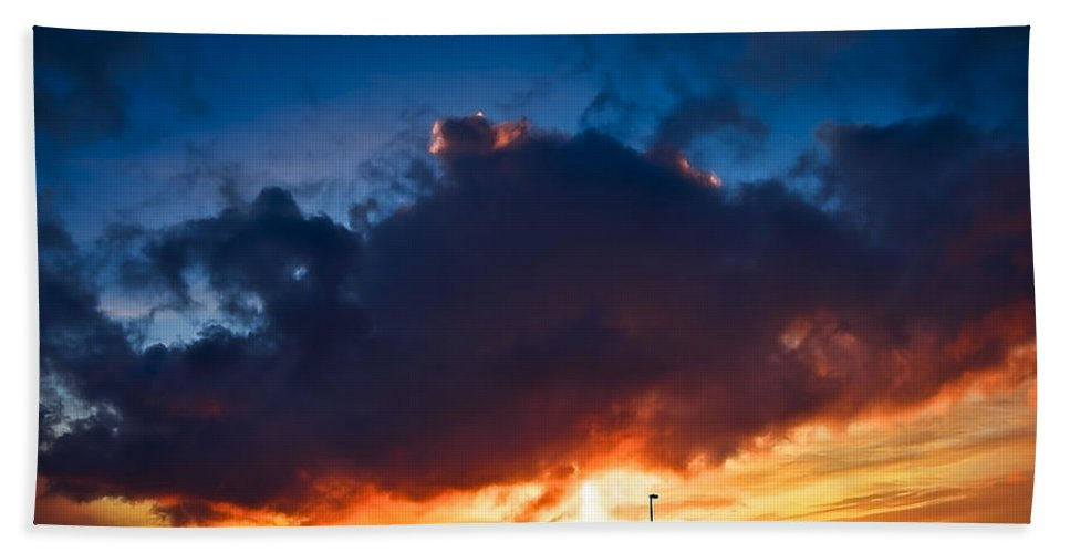 Dawn Hand Towel featuring the photograph Huge Dusk Cloud by Svetlana Sewell