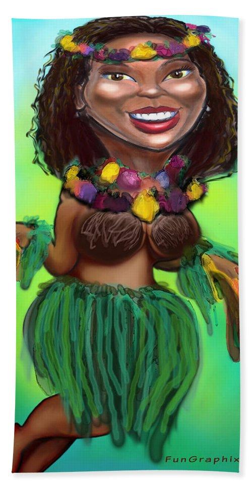 Luau Bath Sheet featuring the digital art Hula Dancer by Kevin Middleton