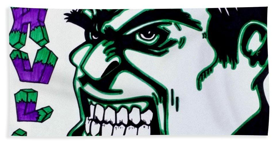 Hulk Bath Sheet featuring the drawing Hulk by Lakeesha Mitchell