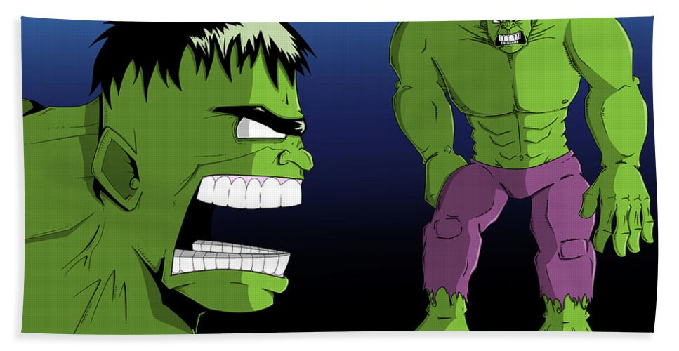 Nathan Spencer Hand Towel featuring the digital art Hulk by Nathan Spencer