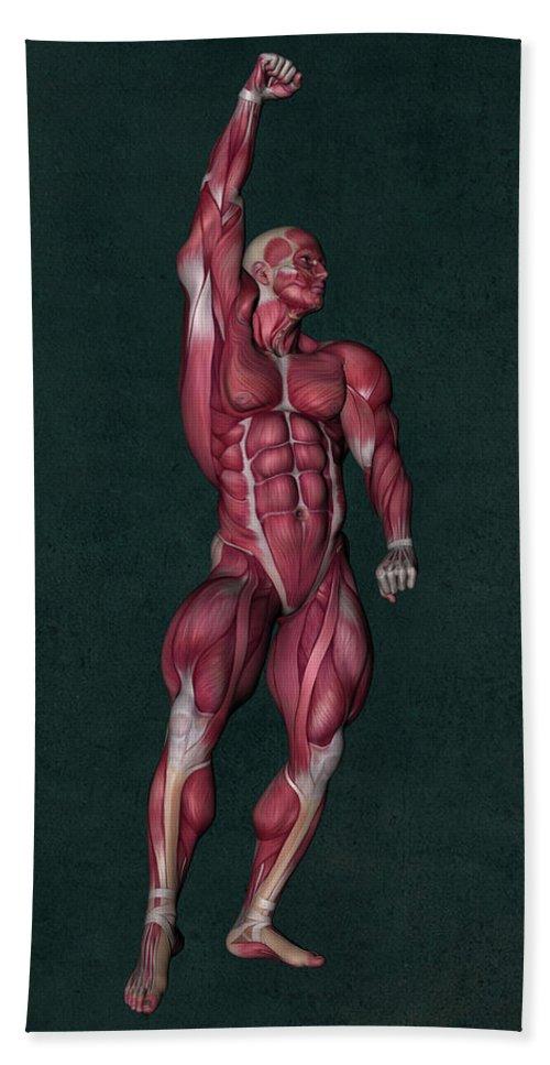 Human Anatomy Hand Towel featuring the mixed media Human Anatomy 37 by Barroa Artworks