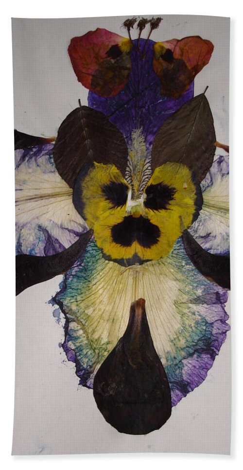 Flower-vision Bath Sheet featuring the mixed media Human Insect by Basant Soni