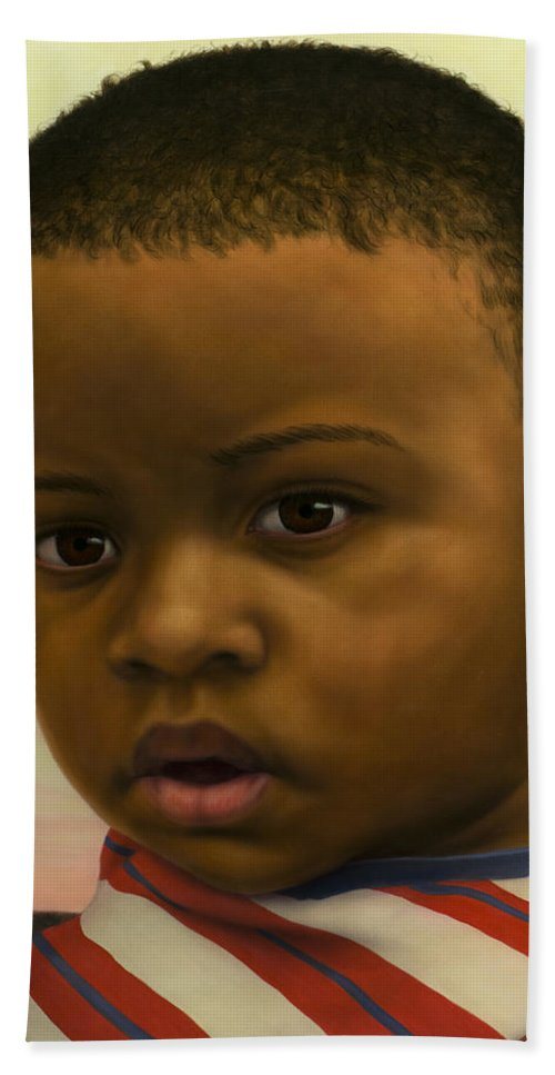 Boy Hand Towel featuring the painting Human-nature #41 by James W Johnson