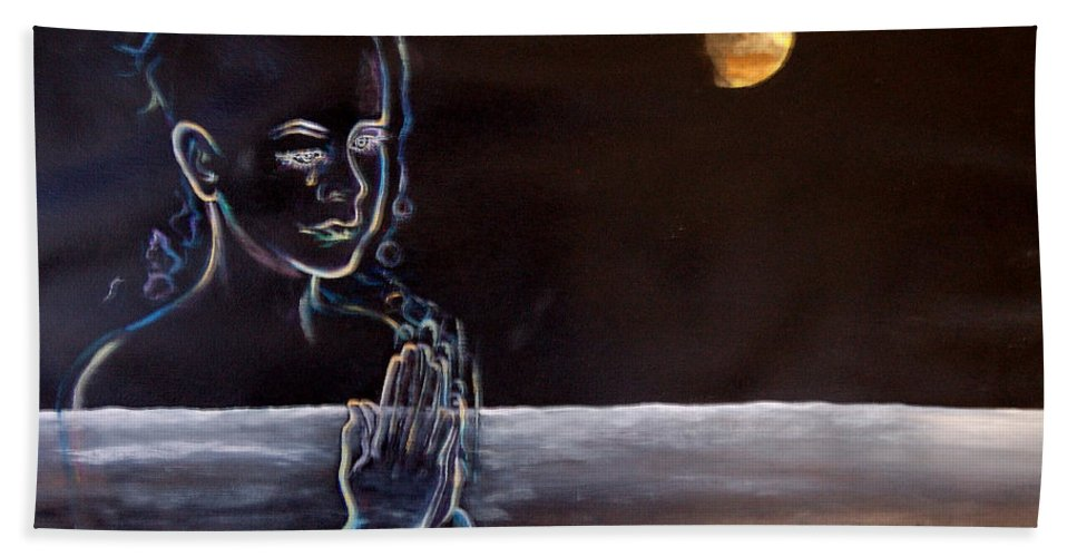 Moon Bath Towel featuring the painting Human Spirit Moonscape by Susan Moore