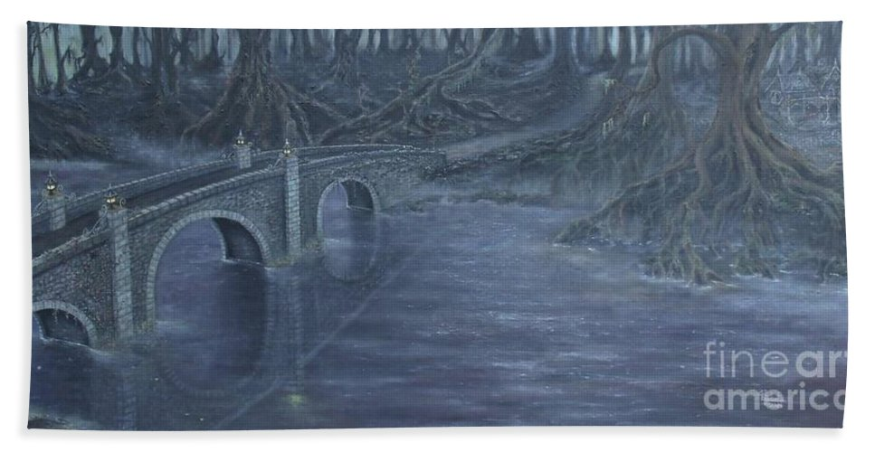Tree Roots Bath Sheet featuring the painting Humble Creek by Shauna Eggleston