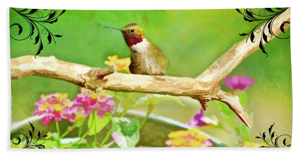 Nature Hand Towel featuring the photograph Humminbird Attitude - Digital Paint 3 by Debbie Portwood