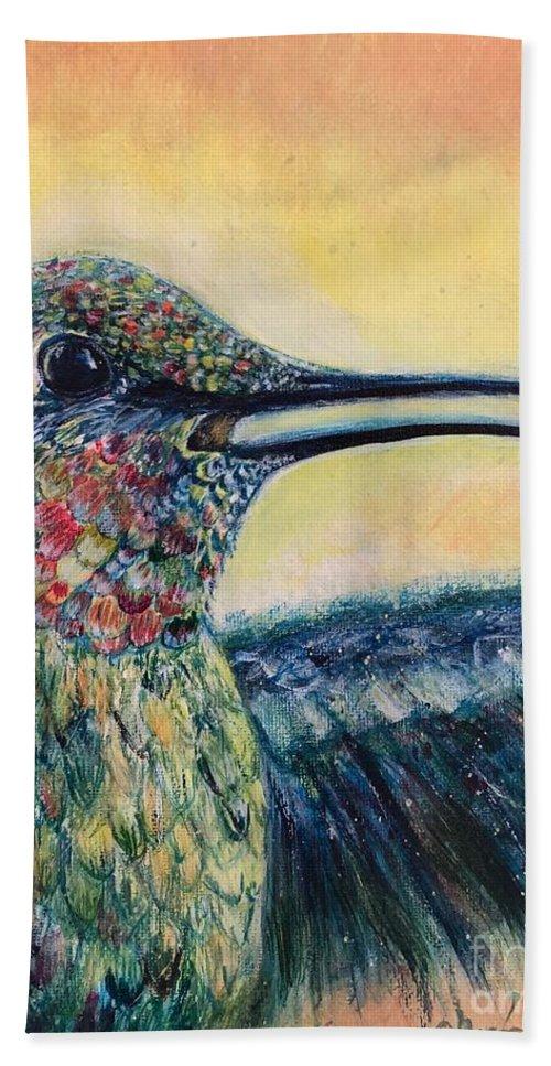 Bird Hand Towel featuring the painting Humming Bird by Charleena Treanor