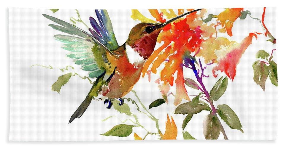 Hummingbird Bath Sheet featuring the painting Hummingbird And Orange Flowers by Suren Nersisyan