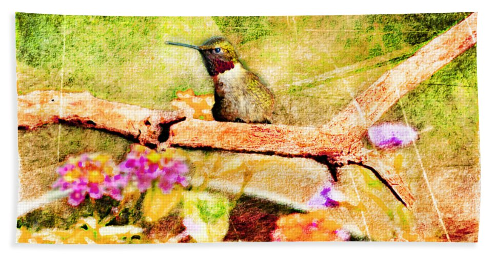 Nature Hand Towel featuring the photograph Hummingbird Attitude - Digital Paint 4 by Debbie Portwood