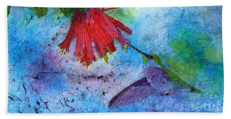 Hummingbird Hand Towel featuring the painting Hummingbird Batik Watercolor by Conni Schaftenaar