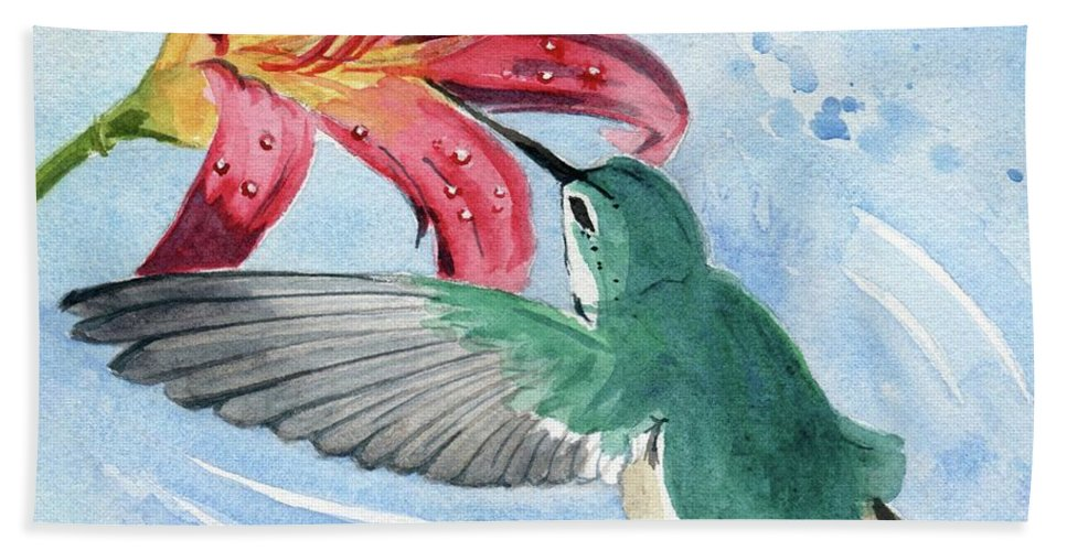 Hummingbird Hand Towel featuring the painting Hummingbird by Melly Terpening