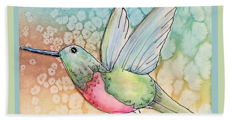 Hummingbird Hand Towel featuring the painting Hummingbird by Shannon Story