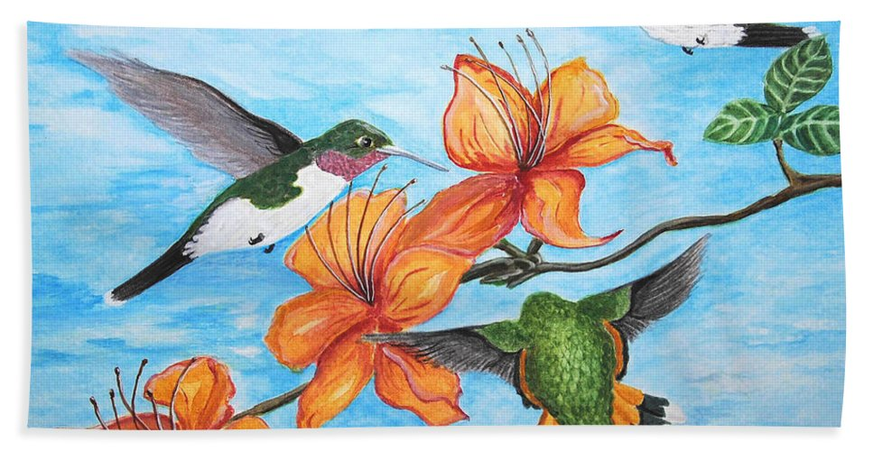 Nature Hand Towel featuring the painting Hummingbirds by Vallee Johnson