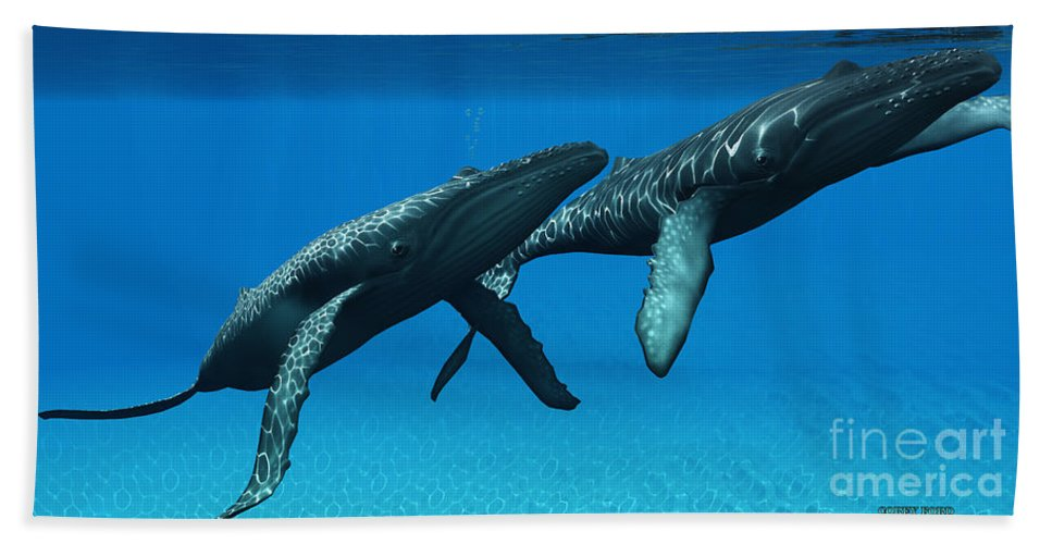 Humpback Whale Hand Towel featuring the painting Humpback Whales Surfacing by Corey Ford