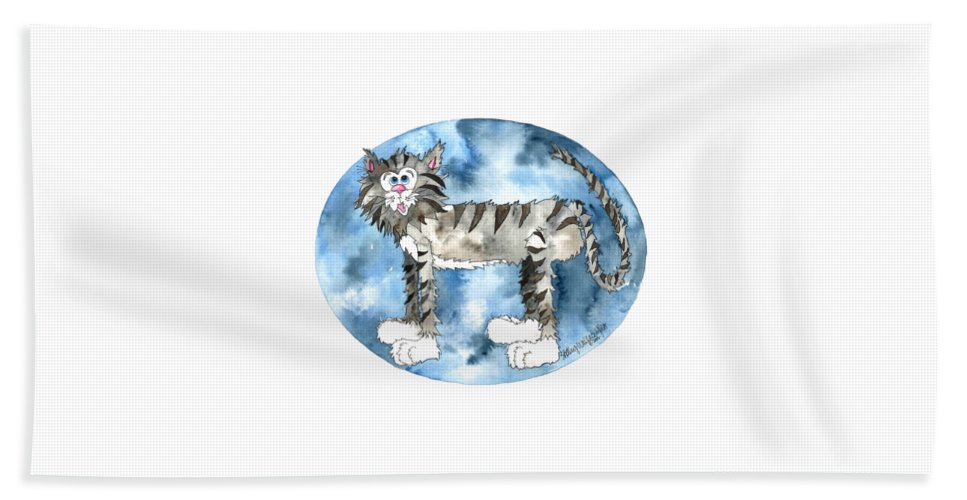 Cat Bath Sheet featuring the painting Humphrey by Shelley Wallace Ylst