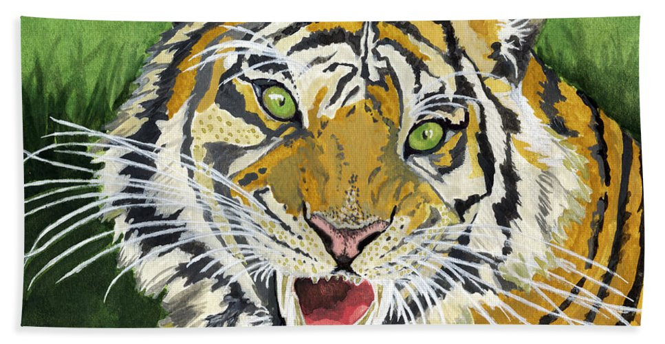 Tiger Hand Towel featuring the painting Hungry Tiger by Alban Dizdari