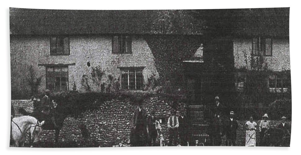 Old Photo Black And White Classic Saskatchewan Pioneers History Hunting Hounds Dogs Bath Sheet featuring the photograph Hunting With Hounds by Andrea Lawrence