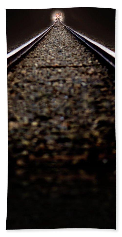 Train Bath Sheet featuring the photograph Hurtling Toward Me by Lisa Knechtel