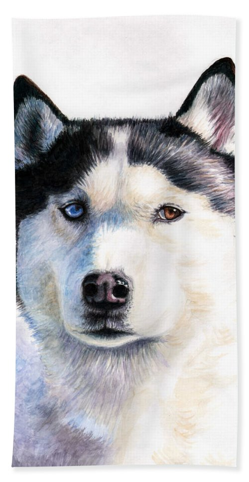Dog Hand Towel featuring the painting Husky Blue by Nicole Zeug