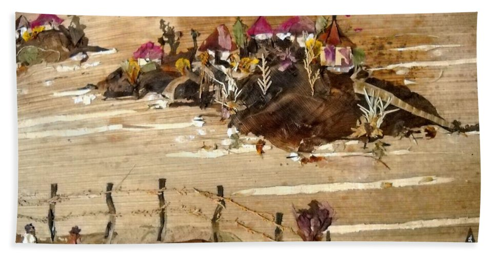 Temples On Huts Bath Sheet featuring the mixed media Huts And Temples On Hills by Basant Soni