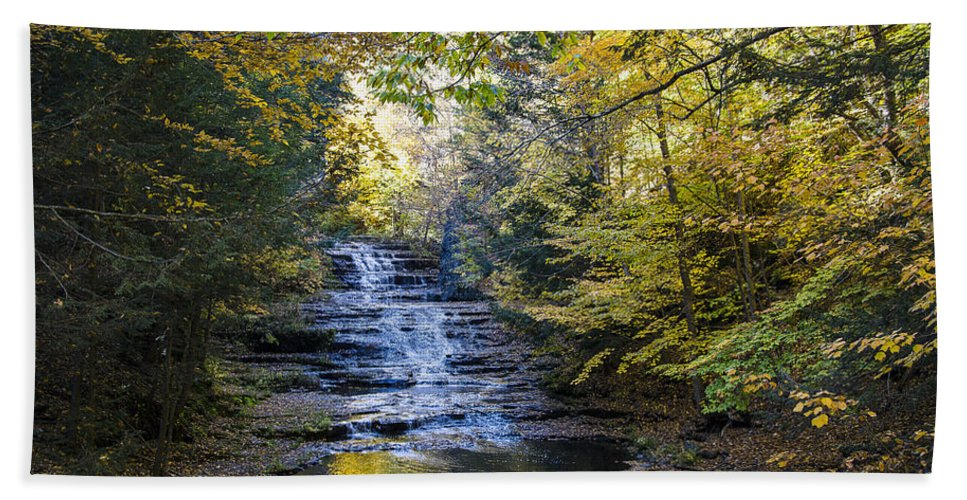 New York Fall Foliage Hand Towel featuring the photograph Huyck Preserve Falls by George Fredericks