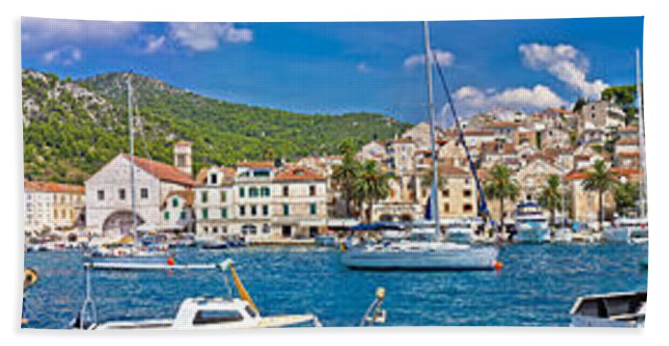 Waterfront Bath Sheet featuring the photograph Hvar Yachting Harbor And Historic Architecture Panoramic by Brch Photography