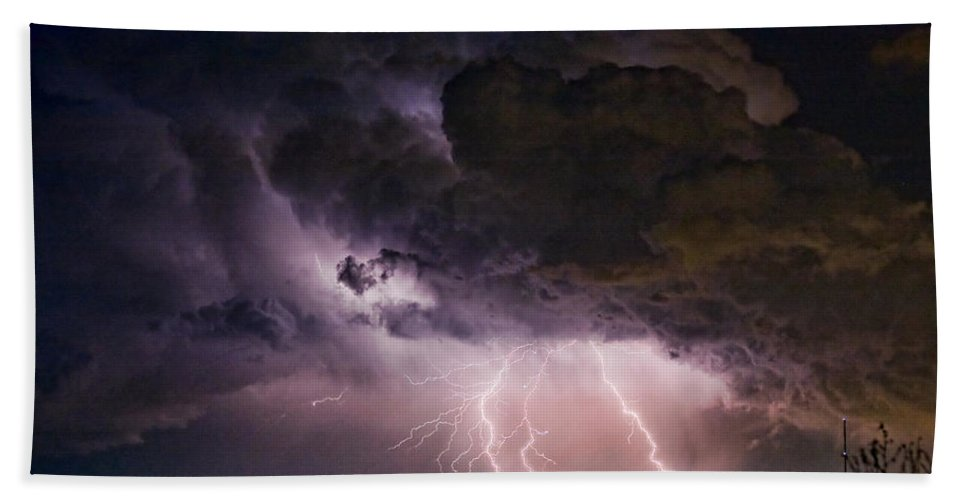 Lightning Hand Towel featuring the photograph Hwy 52 - Hwy 287 Lightning Storm Image 29 by James BO Insogna