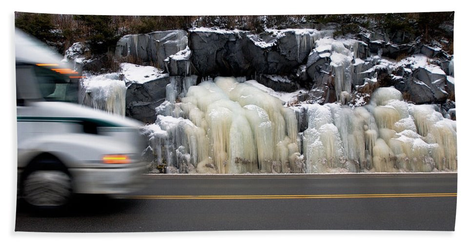Hwy Bath Sheet featuring the photograph Hwy Ice  by Doug Gibbons