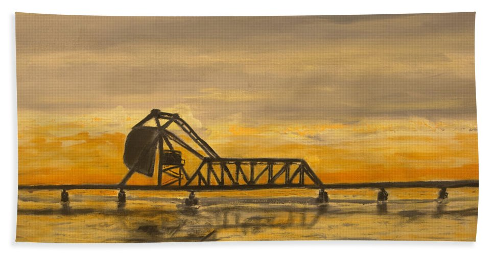 Railroad Hand Towel featuring the painting Hx Draw by Christopher Jenkins