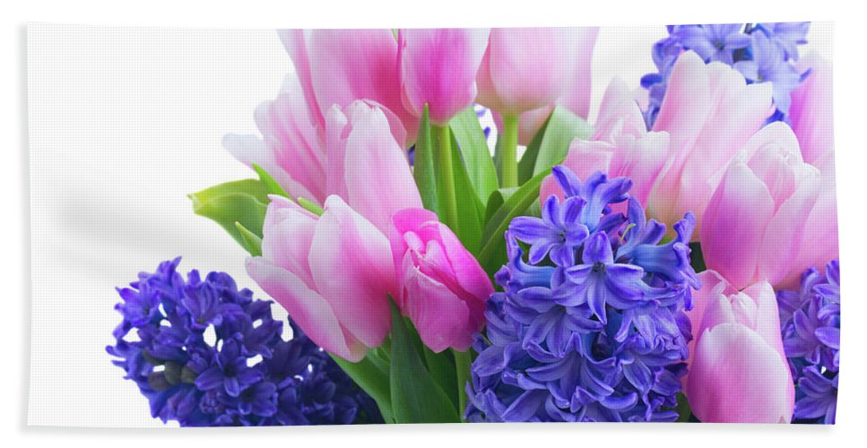 Hyacinth Hand Towel featuring the photograph Hyacinths And Tulips by Anastasy Yarmolovich